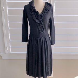 Limited charcoal ruffle neck sweater dress sz S